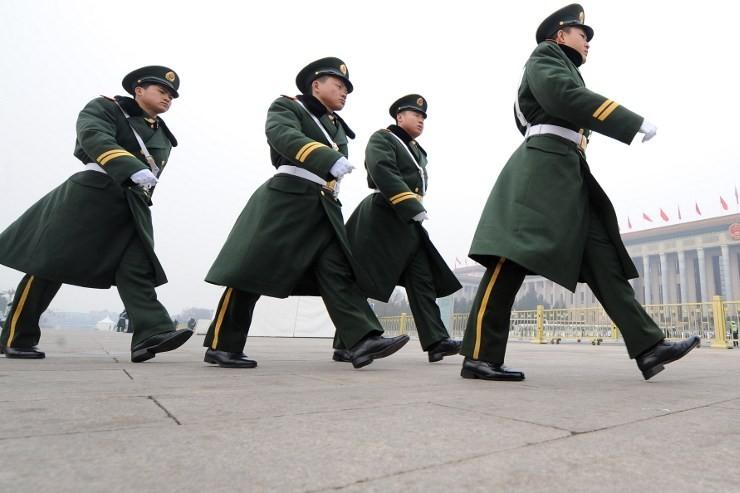 Une patrouille de la police paramilitaire chinoise sur la place Tiananmen (illustration).