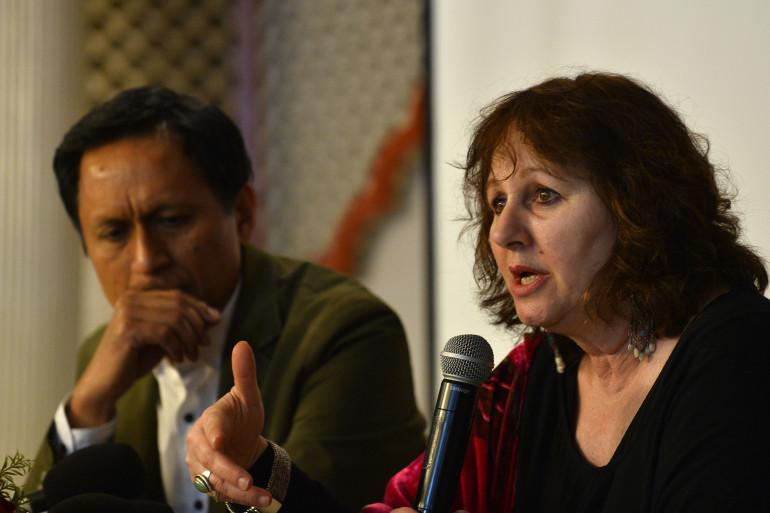 """La réalisatrice britannique du documentaire """"India's Daughter"""", Leslee Udwin, lors d'une conférence de presse à New Delhi le 3 mars 2015."""