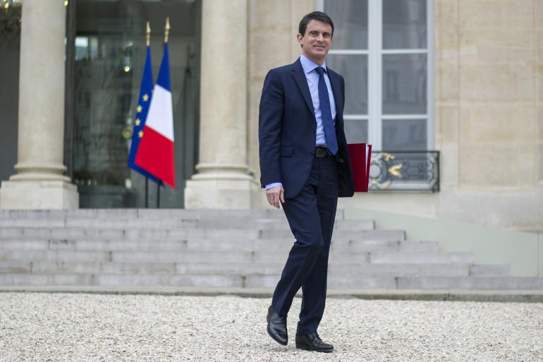 Manuel Valls quittant l'Élysée, le 4 avril 2014 (archives).