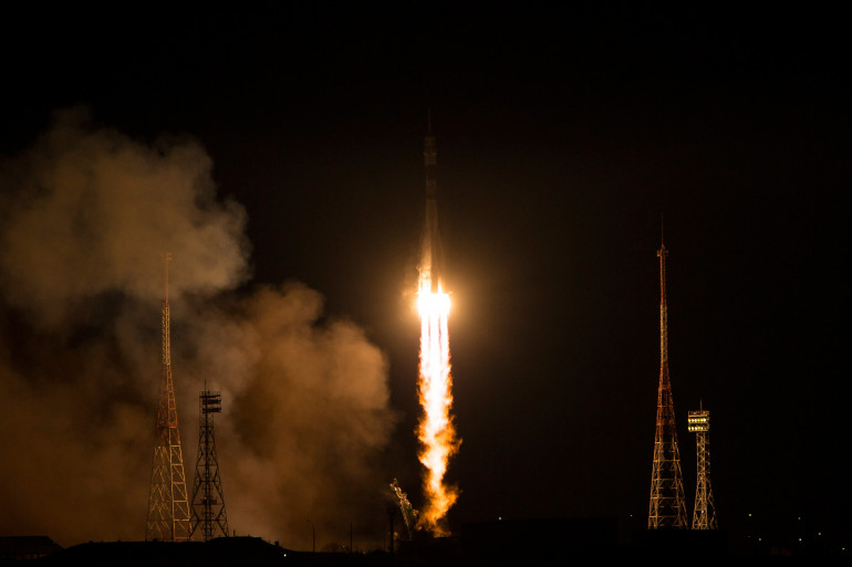 Le lancement de la fusée russe, Soyouz, au Kazakhstan en novembre 2014