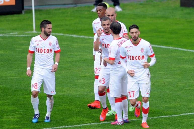 L'équipe de l'AS Monaco, le 26 avril 2015 à Amiens