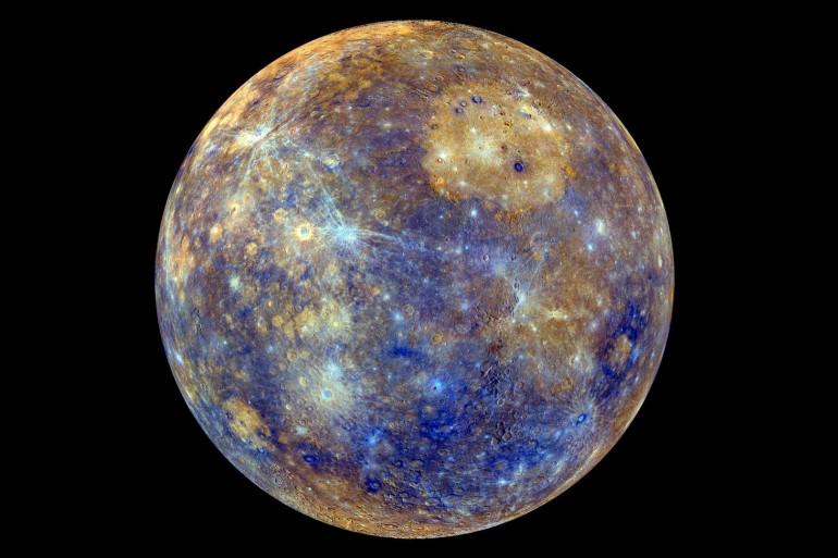 Mercure prise le 21 février 2013, les couleurs correspondant aux différents éléments qui la compose