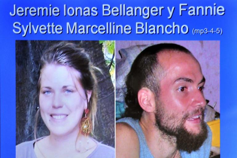 Des portraits de Fannie Blancho et Jérémie Bellanger diffusés lors d'une audience au tribunal de Trinidad, le 26 février 2014 (archives).