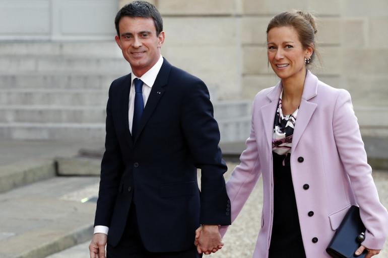 Manuel Valls et son épouse Anne Gravoin le 7 avril 2015 à l'Élysée (illustration).