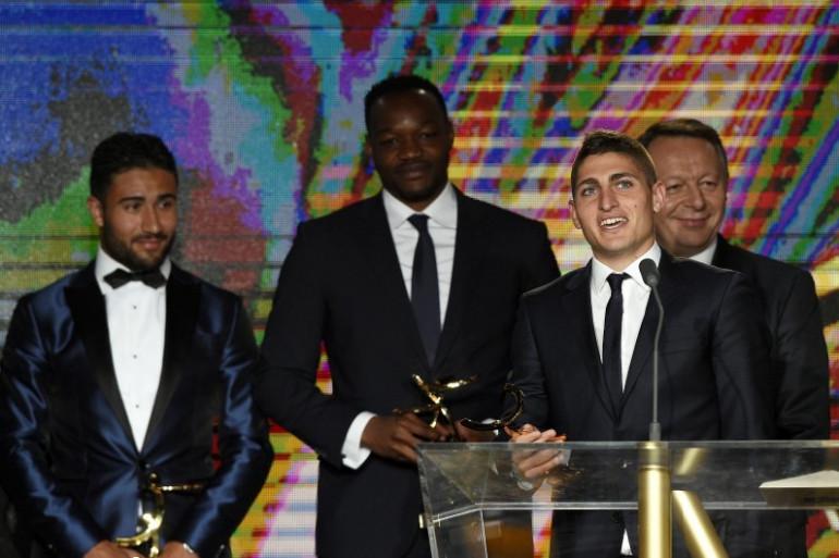 Nabil Fekir, Steve Mandanda, Marco Verratti et Thierry Braillard à la remise des Trophées UNFP, le 17 mai 2015