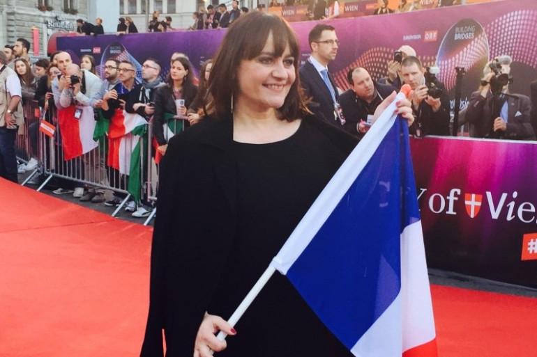 Lisa Angell, lors de la cérémonie d'ouverture de l'Eurovision 2015, le 17 mai à Vienne en Autriche