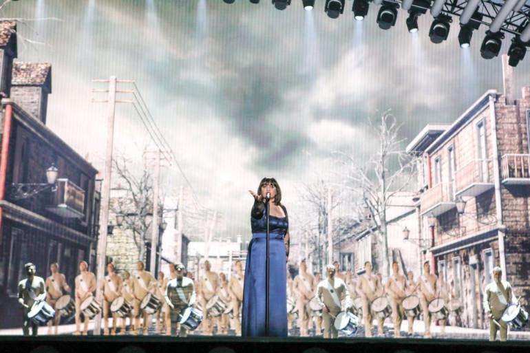 Lisa Angell lors des répétitions pour l'Eurovision