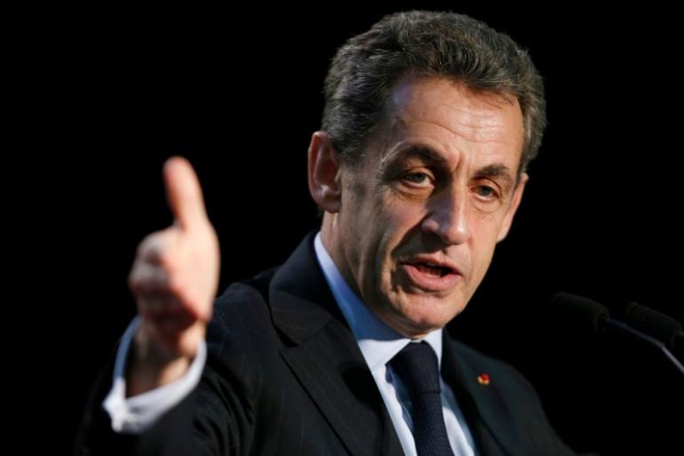 Nicolas Sarkozy le 16 mars 2015 à Palaiseau, lors d'un meeting en soutien au candidat aux départementales Georges Tron.