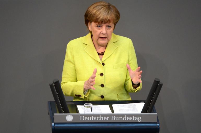 La chancelière allemande Angela Merkel le 21 mai 2015 au Bundestag.