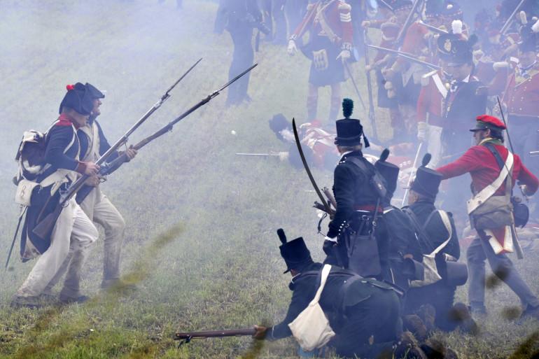 Reconstitution de la bataille le 17 juin 2012 à Waterloo (illustration)