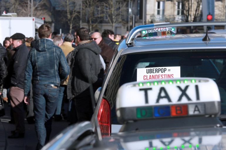 Une manifestation de taxis contre Uber (illustration)