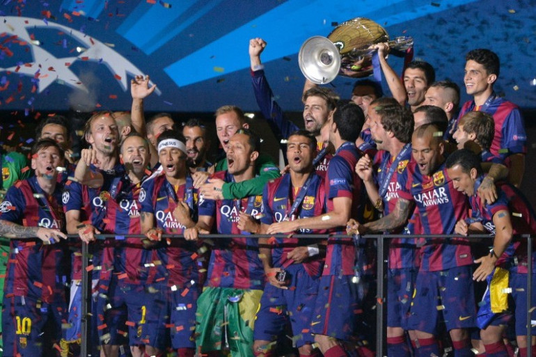 Le FC Barcelone célèbre sa victoire en Ligue des champions face à la Juventus, le 6 juin 2015