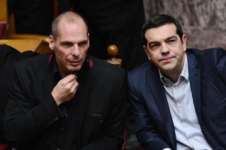 Le ministre de l'Économie grec Yanis Varoufakis et le Premier ministre grec Alexis Tsipras le 18 février 2015. (archives)