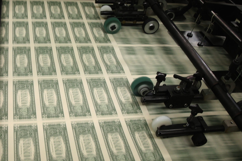 Une planche à billets de 1$ (photo d'illustration)