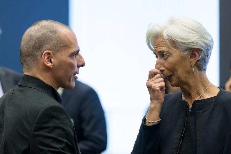 La directrice du FMI, Chstine Lagarde face au ministre des Finances grec Yanis Varoufakis