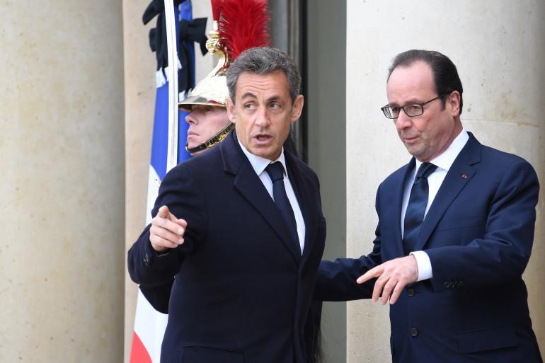 François Hollande et Nicolas Sarkozy, en janvier 2015