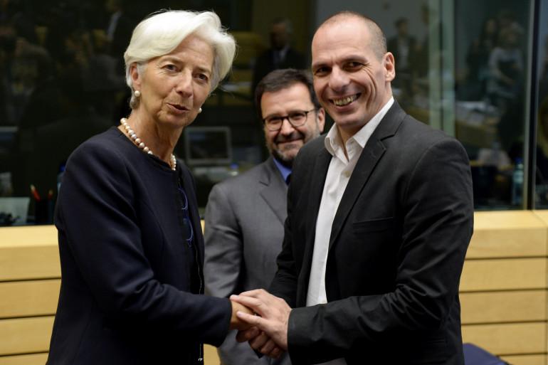 Christine Lagarde et Yanis Varoufakis avant la réunion de l'Eurogroupe, le 25 juin 2015, à Bruxelles