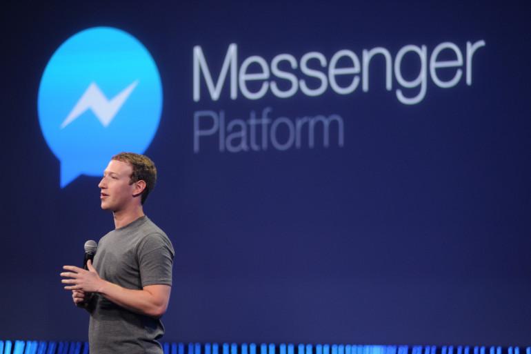 Le créateur de Facebook, Mark Zuckerberg, lors de la présentation de Messenger en mars 2015 (archives)