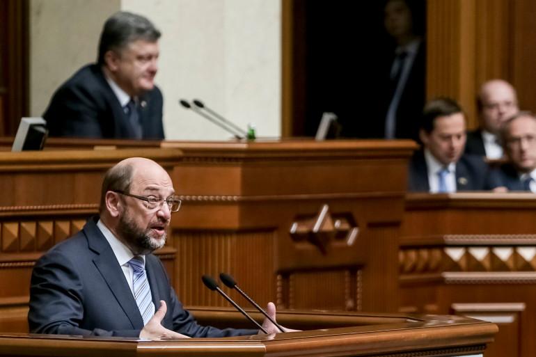 Le président du Parlement européen Martin Schulz le 3 juillet 2015 en Ukraine.