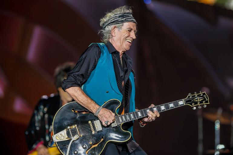 Keith Richards en concert avec les Rolling Stones le 4 juillet 2015 à Indianapolis, aux États-Unis.