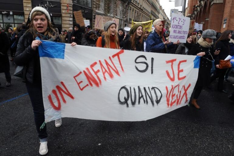 Manifestation à Toulouse pour le droit à l'avortement, en février 2014.