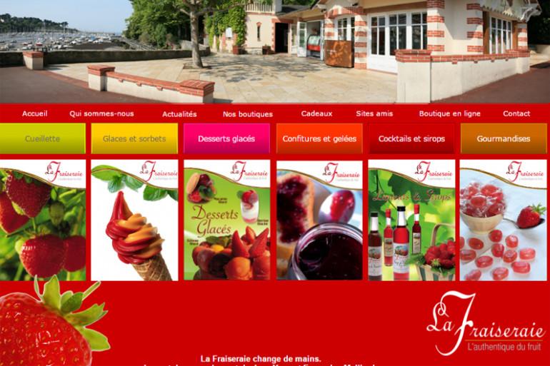 Un détail de la page d'accueil des glaces de la Fraiseraie