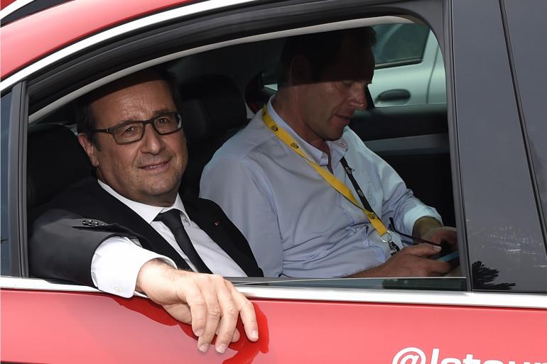 François Hollande, lors du Tour de France 2015