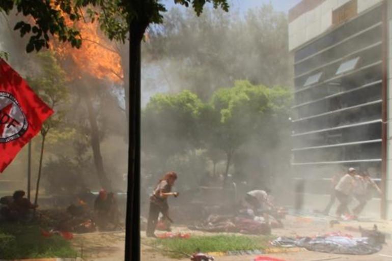 Sur les lieux de l'attentat-suicide à Suruç en Turquie, le 20 juillet 2015.