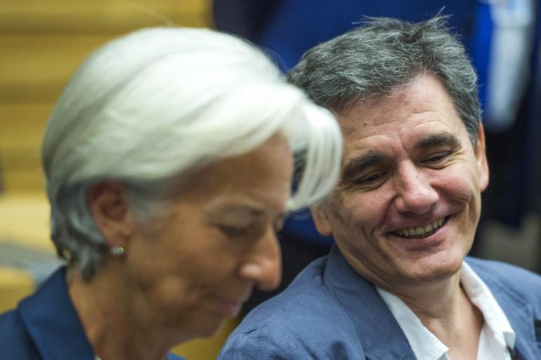 La présidente du FMI Christine Lagarde et le ministre des finances grec Euclyde Tsakalotos