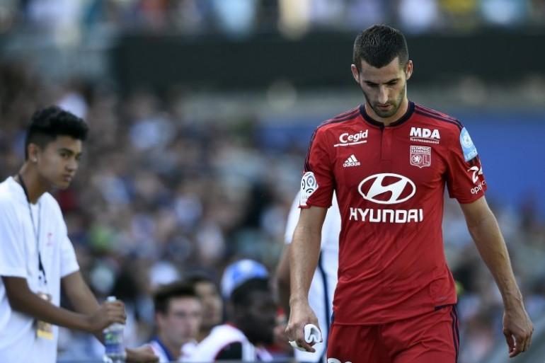 Maxime Gonalons, capitaine de l'OL, après son carton rouge reçu lors du Trophée du champions contre le PSG, à Montréal samedi 1er août
