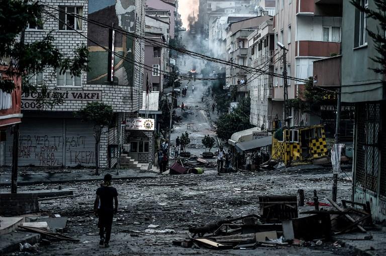 Le district de Gazi à Istanbul après les affrontements entre Turcs et Kurdes le 26 juillet 2015.
