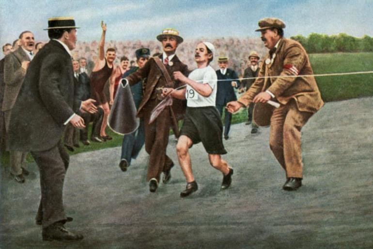 Une représentation artistique du marathon des JO de Londres en 1908, le premier marathon de 42,195 km