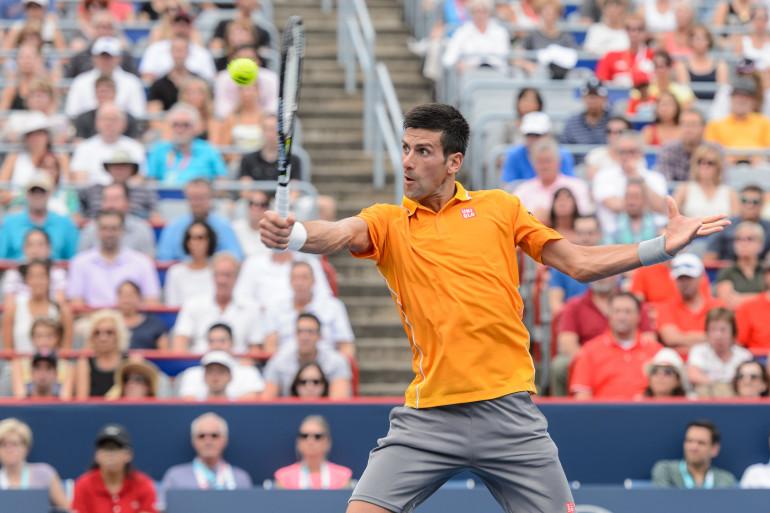 Novak Djokovic lors de la demi-finale contre Jérémy Chardy au Masters de Montréal, le 15 août 2015.