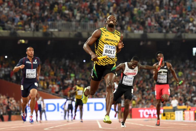 Usain Bolt a conclu le relais 4x100m de la Jamaïque, samedi 29 août