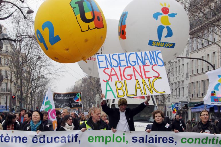 Le cortège de la deuxième manifestation des enseignants contre la réforme du collège, à Paris (archives)