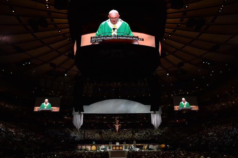 Le pape François au Madison Square Garden à New York le 25 septembre 2015.