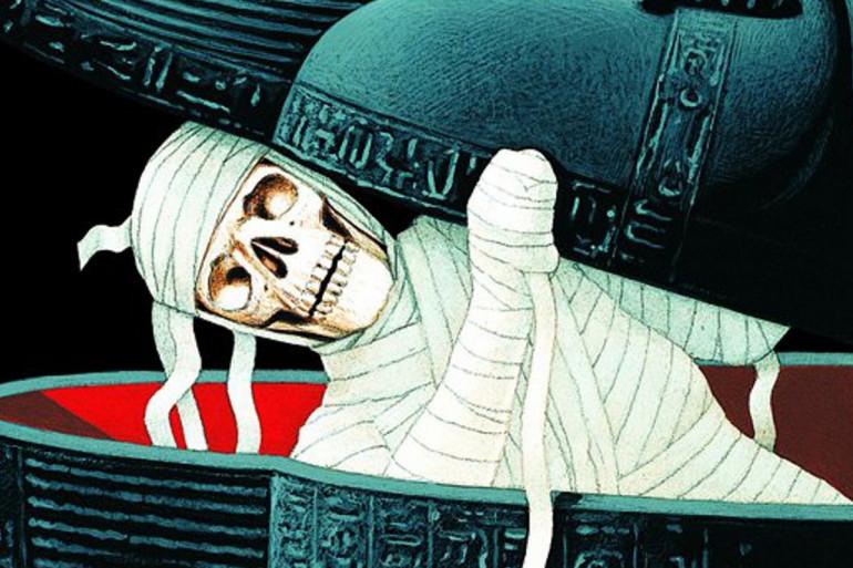 """La couverture de """"La malédiction de la momie"""", un des premiers tomes de la série """"Chair de Poule"""""""