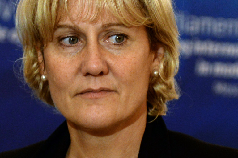 Nadine Morano en déplacement à Moscou le 1er octobre.