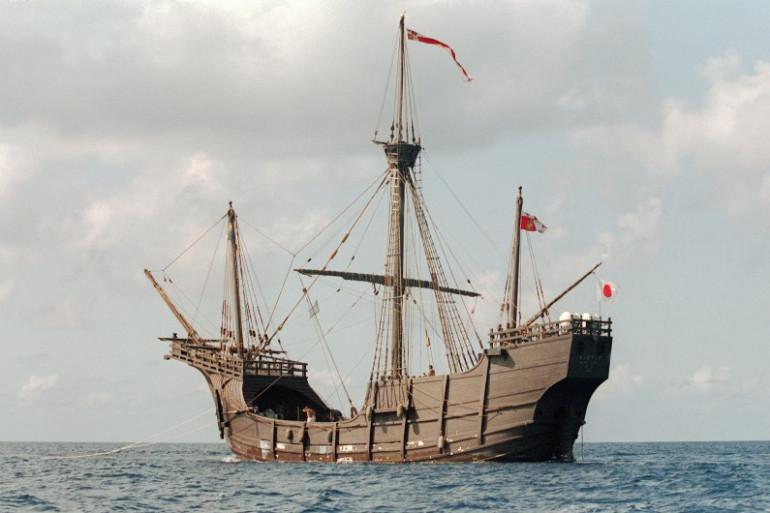 """Une réplique du navire """"Santa Maria"""" au Bahamas, le 5 octobre 1991"""