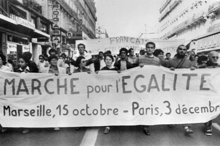 Une marche nationale pour l'égalité des droits et contre le racisme se déroule le 15 octobre 1983 à Marseille