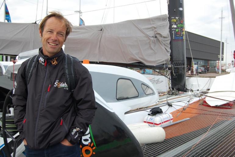 Le skipper Thomas Coville avant le départ de la 12e Transat Jacques Vabre le 24 octobre 2015