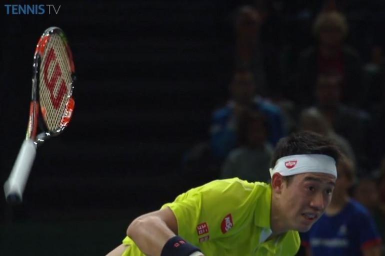 Le Japonais Kei Nishikori jeudi 5 novembre 2015 à Bercy