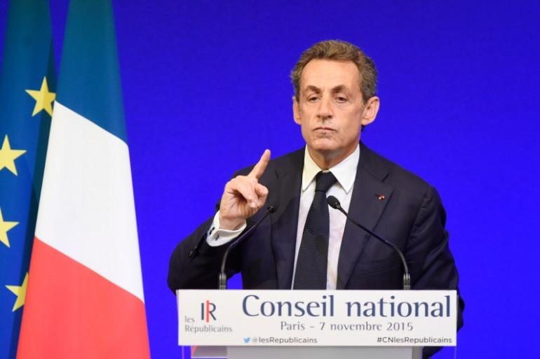 Nicolas Sarkozy au Conseil national des Républicains, à Paris le 7 novembre 2015