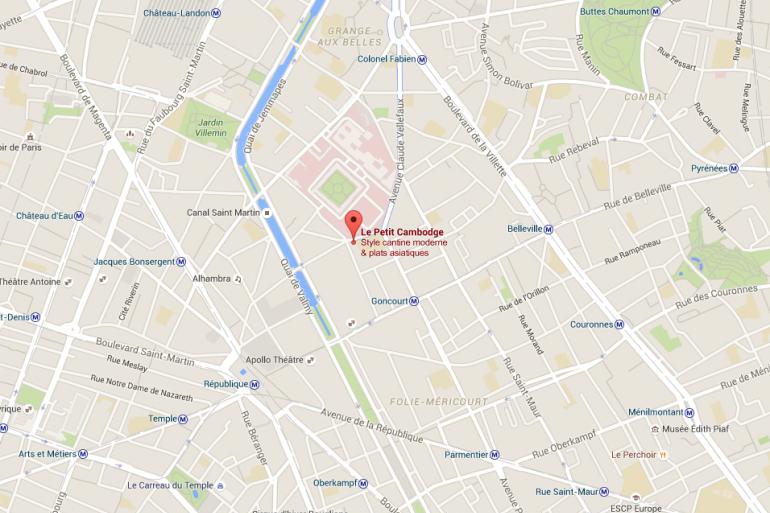 La carte du Xe arrondissement parisien