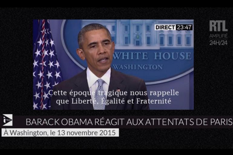 Barack Obama s'exprime depuis la Maison Blanche après les attaques meurtrières à Paris le 13 novembre 2015