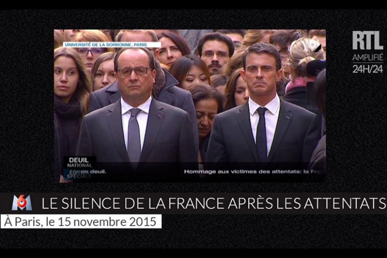 François Hollande et Manuel Valls ont observé une minute de silence depuis l'université de la Sorbonne à Paris