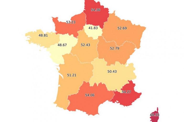 Le taux de participation par région à 17h00