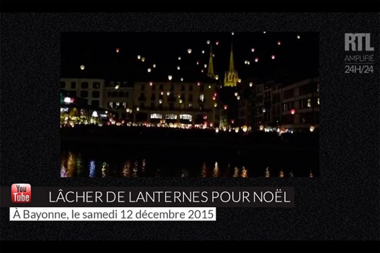 Des lanternes dans le ciel de Bayonne le 12 décembre