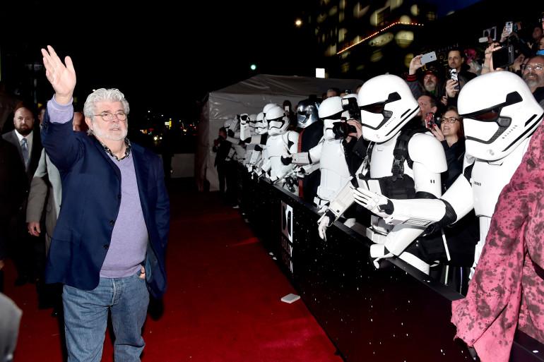 George Lucas à l'avant-première mondiale de Star Wars VII