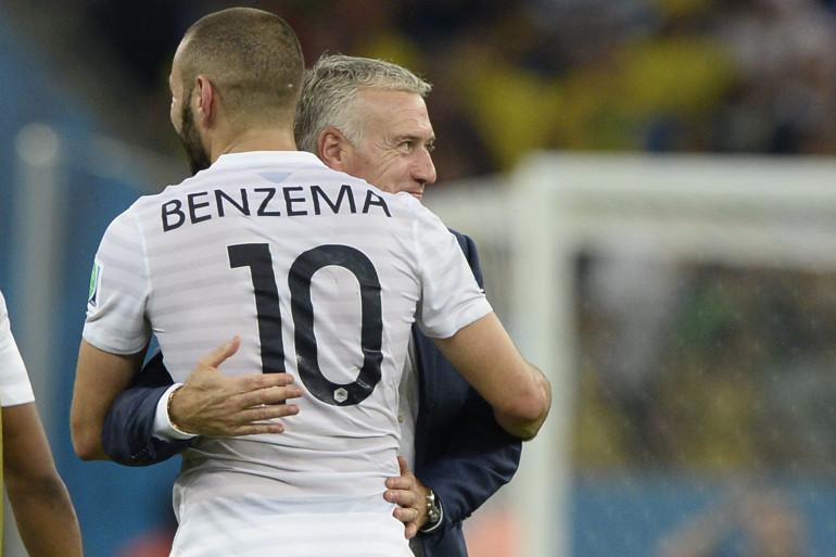 Karim Benzema et Didier Deschamps, lors de la Coupe du monde en juin 2014